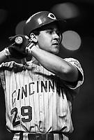 Bret Boone of the Cincinnati Reds at Dodger Stadium in Los Angeles,California during the 1996 season. (Larry Goren/Four Seam Images)
