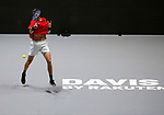 Nicolas Jarry of Chile plays a forehand against Nicolas Jarry of Chile during Day 2 of the 2019 Davis Cup at La Caja Magica on November 19, 2019 in Madrid, Spain. (ALTERPHOTOS/Manu R.B.)