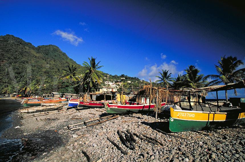 Fishermen & boats village of Scots Head, island of Dominica , West Indies. Scots Head Village, Dominica West Indies.