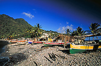 Fishermen & boats village of Scots Head, island of Dominica , West Indies. Scots Head Village, Dominica West Indies.