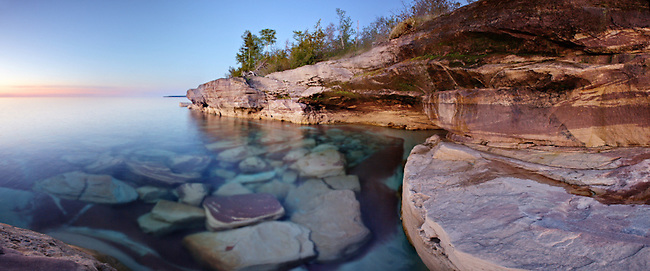 Sandstone shoreline of Lake Superior in the Upper Peninsula of Michigan. Epson International Pano Bronze Award Winner, 2012