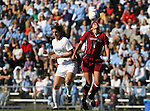 Texas A&M's Nicole Ketchum (8) and North Carolina's Yael Averbuch (17) challenge for the ball on Saturday, November 25th, 2006 at Fetzer Field in Chapel Hill, North Carolina. The University of North Carolina Tarheels defeated the Texas A&M Aggies 3-2 in an NCAA Division I Women's Soccer Championship quarterfinal game.
