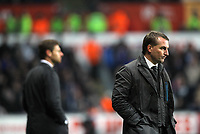 Pictured L-R: Team managers Andre Villas-Boas of Chelsea and Brendan Rodgers of Swansea.Tuesday, 31 January 2012<br />