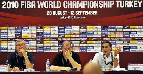 Sep 04, 2010; Istanbul, TURKEY; Defending champions Spain broke open a close game in the fourth quarter and continued their mastery over Greece by winning their Eight-Final showdown at the FIBA World Championship on Saturday. Greek head coach Jonas Kazlauskas (L) and Spain's head coach Sergio Scariolo (R) at the press conference after the game.