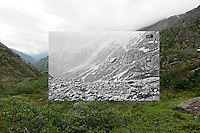 KLGO Photo Station CH-09: Long Hill, August 20, 2013, View southwest down valley with Hoffman Glacier in the background from Long Hill, Klondike Gold Rush National Historical Park, Alaska, United States. Photo by Ronald D. Karpilo Jr. The historic photo taken 1898 by Eric A. Hegg (University of Washington Libraries, Special Collections, Hegg335) is digitally overlaid on the repeat photo.