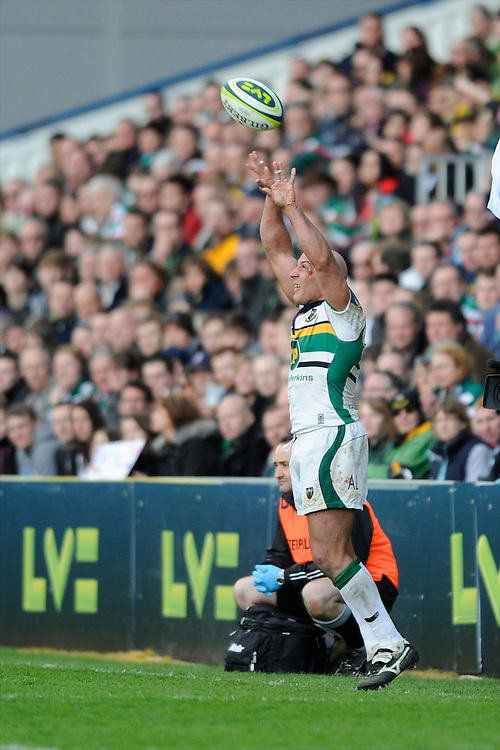 Andy Long of Northampton Saints throws in at a lineout during the LV= Cup Final match between Leicester Tigers and Northampton Saints at Sixways Stadium, Worcester on Sunday 18 March 2012 (Photo by Rob Munro, Fotosports International)