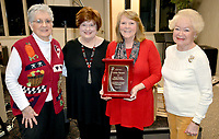 Janelle Jessen/Herald-Leader Siloam Springs Republican Women presented Christy Barnett with a plaque on Jan. 28 thanking her for her six years of service as club president. Pictured, from left, are past president Carrie Chastain, new president Sharon Ghassaomi, Christy Barnett and former treasurer Barbara Foreman.