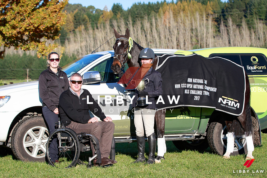Emily Cammock and Shaw Lee take the Title for the NRM CCI3* Open National Championship, presented by NRM during the Prizegiving at the 2017 NZL-NRM National Three Day Event Championships. National Equestrian Center, Taupo. Sunday 14 May. Copyright Photo: Libby Law Photography