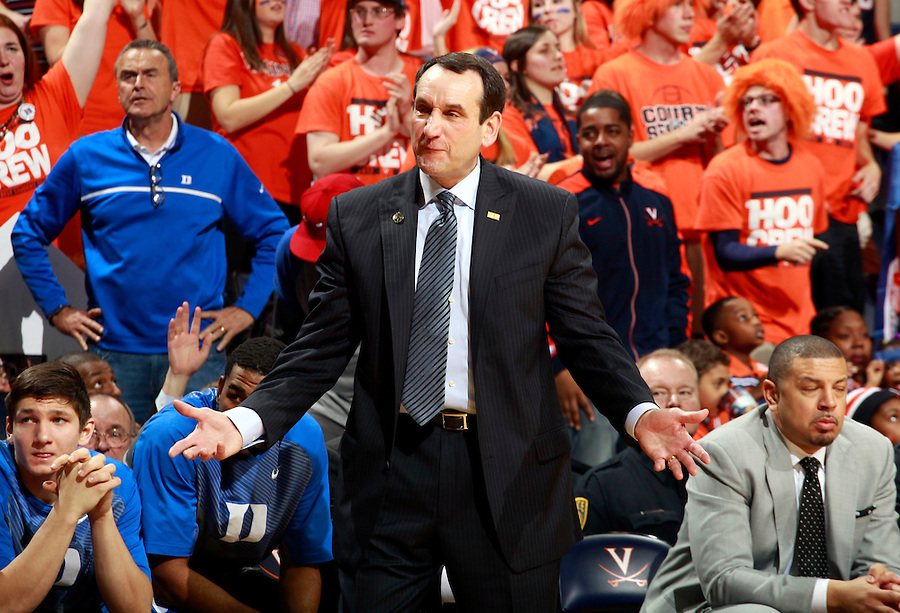 Duke head coach Mike Krzyzewski during an ACC basketball game Jan. 31, 2015 in Charlottesville, VA. Duke won 69-63.