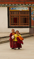 A moment in the day of two little Buddhist monks at a monastery in the Himalayan foothills of Sikkim, India