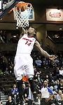 SIOUX FALLS, SD - FEBRUARY 11:  DeAndre Liggins #14 from the Sioux Falls Skyforce slams home two points against the Canton Charge in the first quarter of their game Tuesday night at the Sanford Pentagon. (Photo by Dave Eggen/Inertia)
