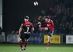 Full back JJ Hanrahan of Munster Rugby punts the ball up field.<br /> <br /> Guiness Pro 12<br /> Newport Gwent Dragons v Munster Rugby<br /> Rodney Parade<br /> 21.11.14<br /> &copy;Steve Pope-SPORTINGWALES