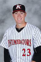 Kannapolis Intimidators pitcher Matt Ball (23) poses for a photo at Kannapolis Intimidators Stadium on April 5, 2016 in Kannapolis, North Carolina.  (Brian Westerholt/Four Seam Images)