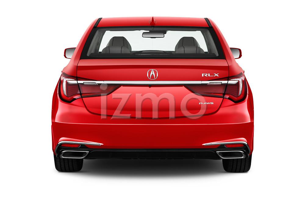 Straight rear view of 2018 Acura RLX - 4 Door Sedan Rear View  stock images
