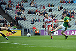 17-1-2017: Jack Griffin has a shot at goal blocked down in the All-Ireland Football final at Croke Park on Sunday.<br /> Photo: Don MacMonagle