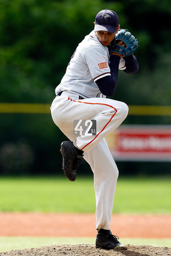17 July 2011: Starting pitcher Laurent Andrades of Montpellier Barracudas pitches against Senart during the 2011 Challenge de France match won 6-2 by the Montpellier Barracudas over the Senart Templiers, at Stade Pierre Rolland, in Rouen, France.