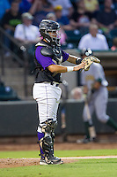 Winston-Salem Dash catcher Omar Narvaez (21) gives defensive signs during the game against the Lynchburg Hillcats at BB&T Ballpark on August 13, 2014 in Winston-Salem, North Carolina.  The Hillcats defeated the Dash 4-3.   (Brian Westerholt/Four Seam Images)