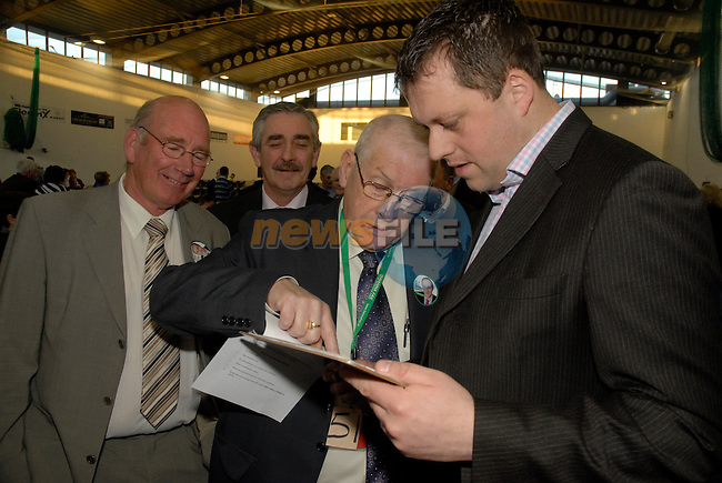 .FF's Thomas Byrne gets the figures from hid Director of elections at the General Election Count in Meath East, Ashbourne, Co Meath. 26/2/2011..Picture Andy Spearman/www.newsfile.ie.