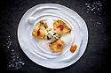 1/07/18 - PONT D ALLEYRAS - HAUTE LOIRE - FRANCE - Etablissement Le Haut Allier. Hommard et cassis, recette preparee par Philippe Brun, une etoile au Michelin - Photo Jerome CHABANNE