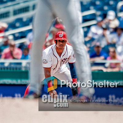 1 August 2018: Washington Nationals infielder Wilmer Difo takes a lead off first in the 7th inning against the New York Mets at Nationals Park in Washington, DC. The Nationals defeated the Mets 5-3 to sweep the 2-game weekday series. Mandatory Credit: Ed Wolfstein Photo *** RAW (NEF) Image File Available ***
