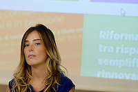 Roma, 1 Settembre 2014.<br /> Palazzo Chigi.<br /> Conferenza stampa sui prossimi mille giorni del Governo e presentazione del sito web passodopopasso.italia.it.<br /> La Ministra Maria Elena Boschi.<br /> Government Renzi: 1000 days and the site passodopopasso.italia.it <br /> Rome, September 1, 2014.<br /> Chigi Palace.<br /> Press Conference on the next one thousand days of Government and presentation of the website passodipopasso.italia.it.<br /> The Minister Maria Elena Boschi
