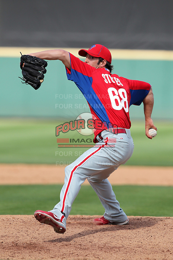 Philadelphia Phillies Michael Stutes #68 during a spring training game against the Baltimore Orioles at Bright House Field in Clearwater, Florida;  March 6, 2011.  Photo By Mike Janes/Four Seam Images
