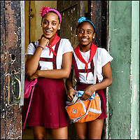 Faces Of Cuba - Sisters home from school.<br />