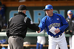 13 February 2015: Seton Hall head coach Rob Sheppard (right) shakes hand with umpire Thomas Baldinelli (42). The University of North Carolina Tar Heels played the Seton Hall University Pirates in an NCAA Division I Men's baseball game at Boshamer Stadium in Chapel Hill, North Carolina. UNC won the game 7-1.