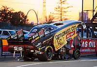 Sep 27, 2019; Madison, IL, USA; The St Louis Arch is visible behind the car of NHRA funny car driver Jim Campbell during qualifying for the Midwest Nationals at World Wide Technology Raceway. Mandatory Credit: Mark J. Rebilas-USA TODAY Sports