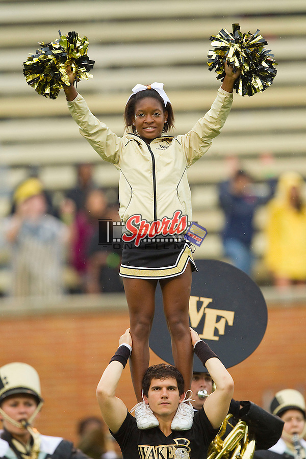 A member of the Wake Forest Demon Deacons cheer leading squad prior to the game against the Duke Blue Devils at BB&T Field on September 29, 2012 in Winston-Salem, North Carolina.  The Blue Devils defeated the Demon Deacons 34-27.  (Brian Westerholt/Sports On Film)