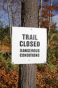 Trail closed because of Tropical Storm Irene damage in Lincoln, New Hampshire USA.