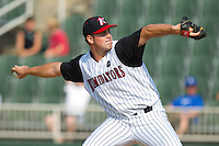 Starting pitcher Matthew Hopps #37 of the Kannapolis Intimidators in action against the Hagerstown Suns at Fieldcrest Cannon Stadium August 8, 2010, in Kannapolis, North Carolina.  Photo by Brian Westerholt / Four Seam Images