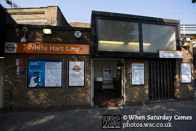Tottenham Hotspur 4 Watford 0, 08/04/2017. White Hart Lane, Premier League. White Hart Lane London Overground railway station, pictured before Tottenham Hotspur took on Watford in an English Premier League match at nearby White Hart Lane. Spurs were due to make an announcement in April 2016 regarding when they would move out of their historic home and relocate to Wembley as their new stadium was completed. Spurs won this match 4-0 watched by a crowd of 31,706, a reduced attendance figure due to the ongoing ground redevelopment. Photo by Colin McPherson.