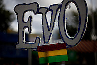 La Paz, Bolivia<br /> A picture dated November 26, 2009 shows a sign with the name of Bolivian President Evo Morales during a campaign event.