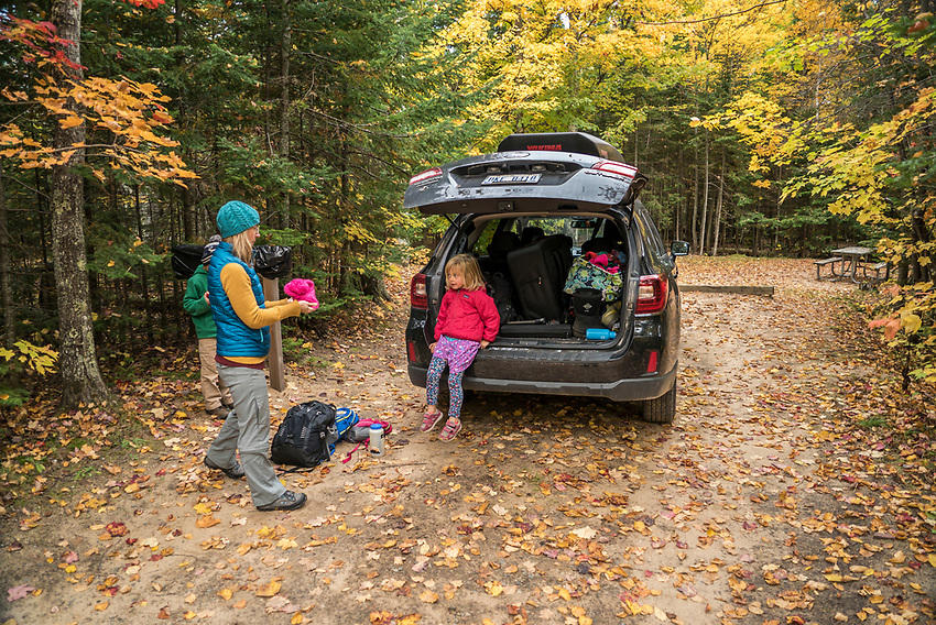 Family hike at Pictured Rocks National Lakeshore in fall.