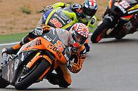 JIR Moto2 Rider  Rider Johann Zarco heads hit  first first day at Aragon Moto Gp Grand Prix 2012