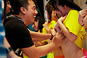 """A man squeezes the breast of a adult movie star during the 12thannual 24 hour TV event """"Eroticism Saves the Earth Telethon""""on August 30, 2014 in Tokyo, Japan. 12 Japanese actresses donated their breasts for a 24 hour telethon event with the aim of raising money for a Stop AIDS charity. The adult movie stars allowed fans to feel their breasts in return for a donation to the AIDS charity.The 12thannual 24 hour TV event """"Eroticism Saves the Earth Telethon""""is organized by Sky Perfect Tv Adult Chanel with motto""""Social contribution while enjoying the erotic"""". Fans are given the chance to interact with some of the channel's leading actresses in the live broadcast event that runs from Saturday afternoon through until Sunday 20:00 hrs.The organizers expect to attract around 2000 fans raising JPY 2 million (US$20,000) over the weekend.(Photo by Rodrigo Reyes Marin/AFLO)"""