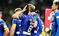 Warrington Wolves' Kevin Brown reacts after his side conceded a third try<br /> <br /> Photographer Alex Dodd/CameraSport<br /> <br /> Betfred Super League Grand Final - Wigan Warriors v Warrington Wolves - Saturday 13th October 2018 - Old Trafford - Manchester<br /> <br /> World Copyright © 2018 CameraSport. All rights reserved. 43 Linden Ave. Countesthorpe. Leicester. England. LE8 5PG - Tel: +44 (0) 116 277 4147 - admin@camerasport.com - www.camerasport.com