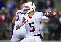 SEATTLE, WA - September 28, 2013: Stanford quarterback Evan Crower passes the ball during play against Washington State at CenturyLink Field. Stanford won 55-17.