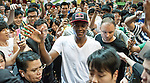 NBA's player and Red Bull athlete Rajon Rondo waves to the crowd during the Hong Kong's Red Bull King of the Rock at the Southorn Indoor Stadium on September 1, 2012 in Hong Kong. Photo by Victor Fraile / The Power of Sport Images