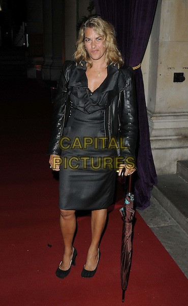 Tracey Emin.The 'RA Now' VIP gala, Royal Academy of Arts, Burlington House, Piccadilly, London, England..October 8th, 2012.full length black dress leather jacket umbrella .CAP/CAN.©Can Nguyen/Capital Pictures.