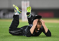 Kane Willaimson after missing a run out opportunity.<br /> New Zealand Black Caps v Australia.Tri-Series International Twenty20 cricket final. Eden Park, Auckland, New Zealand. Wednesday 21 February 2018. &copy; Copyright Photo: Andrew Cornaga / www.Photosport.nz