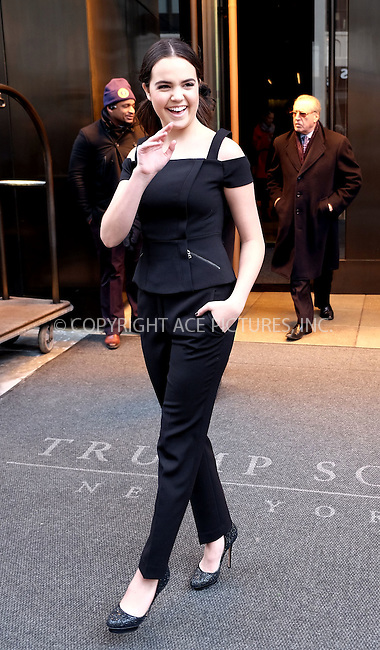 WWW.ACEPIXS.COM<br /> <br /> February 12, 2016 New York City<br /> <br /> Bailee Madison leaving a downtown Manhattan hotel on February 12 2016 in New York City.<br /> <br /> <br /> Please byline: Curtis Means/ACE Pictures<br /> <br /> ACE Pictures, Inc.<br /> www.acepixs.com, Email: info@acepixs.com<br /> Tel: 646 769 0430