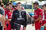 BREDA - keeper Loic van Doren (Bel) met Arthur van Doren (Bel) en rechts Simon Gougnard (Bel)     Belgie-Pakistan .  Rabobank Champions  Trophy `2018 .   COPYRIGHT  KOEN SUYK