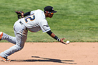 Akron RubberDucks shortstop Francisco Lindor (12) flips the ball to second for the out during a game against the Erie SeaWolves on May 18, 2014 at Jerry Uht Park in Erie, Pennsylvania.  Akron defeated Erie 2-1.  (Mike Janes/Four Seam Images)