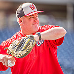 22 May 2015: Washington Nationals Bullpen Coach Matthew LeCroy tosses some ball prior to a game against the Philadelphia Phillies at Nationals Park in Washington, DC. The Nationals defeated the Phillies 2-1 in the first game of their 3-game weekend series. Mandatory Credit: Ed Wolfstein Photo *** RAW (NEF) Image File Available ***
