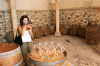 Radost filming in the cellar. Cobo winery, Poshnje, Berat. Albania, Balkan, Europe.