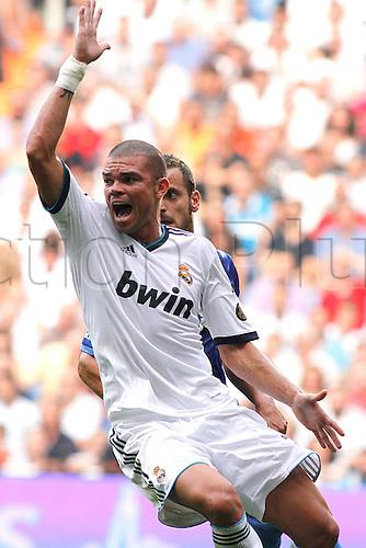 19.08.2012 Madrid, Spain. La Liga Football Real Madrid vs. Valencia CF - Pepe reacts to a refs decision
