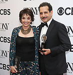 Brooke Adams and Tony Shalhoub poses in the 72nd Annual Tony Awards Press Room at 3 West Club on June 10, 2018 in New York City.
