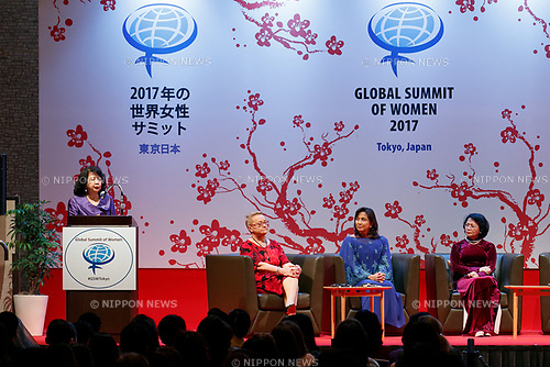 (L to R)  Summit President Irene Natividad, Henryka Bochniarz President of Lewiatan, Vice President of Philippines Leni Robredo and Vice President of Vietnam Dang Thi Ngoc Thinh, pose for cameras during the 2017 Global Summit of Women on May 11, 2017, Tokyo, Japan. The annual Global Summit of Women is being held in Tokyo for the first time with the objective of empowering Japanese women through the speeches of female leaders' from both the private and public sectors. The event is organized by the Washington-based NPO Globe Women and runs until May 13. (Photo by Rodrigo Reyes Marin/AFLO)